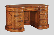 Hampton Walnut Large Kidney Desk with Wooden Top Antique Repro NEW DW016L(W)