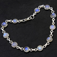 MOTHER'S DAY SALE 925 Sterling Silver Jewelry Natural Round Moonstone Bracelet