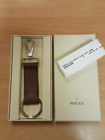 ORIGINAL Rolex STAINLESS STEEL AND LEATHER Key-chain Key-ring FROM DEALER.
