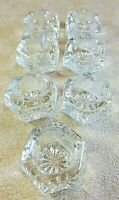"Vintage Set 7 Crystal Pressed Glass Six-Sided Salt Cellars 1 1/2"" Dia. 1"" Tall"