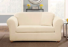 Sure fit Box cushion Stretch Pin stripe sofa size Slip cover in Cream Ivory