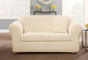 Sure fit Box cushion Stretch Pin stripe sofa size Slip cover in Cream Ivory
