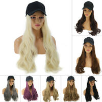 AU Women Baseball Cap with Synthetic Wig Long Wavy Full Wigs Hat for Natural Use
