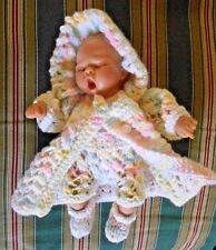 "Doll Clothes Hand-Knitted Pastels Matinee Set Fits cloth body 10"" to 12"""