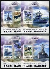 Djibouti 2017 75th Anniversary Pearl Harbor Attack Set Of Four S/ Sheets Mint