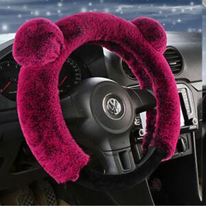 3Pcs Soft Warm Plush Wool Steering Wheel Cover Winter Fluffy Car Accessory