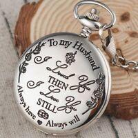 To My Husband Quartz Vintage Antique Steampunk Pocket Watch Necklace Chain Retro