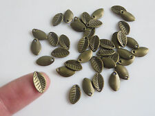 50 Antique Bronze Tone Small Tree Leaf Charms Pendants For Jewellery Making 11mm