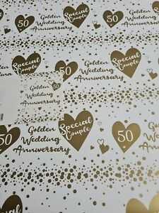 Gift Wrap 2 x Top Quality (50th) Golden Wedding Anniversary Sheets & 1 x Gift...