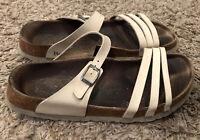 "BIRKENSTOCK ""Betula"" Size 41 Women's 10 Cream Color Leather Strappy Sandals VG"
