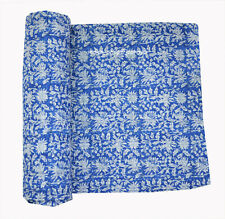 New Indian Cotton Hand Block Print Twin Quilt Kantha Bedspread Bedding Coverlet