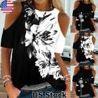 Womens Crew Neck Cold-Shoulder Casual Tee Blouse Short Sleeve Loose T Shirt Tops