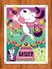 """Tin Sign """"Charlie Brown Easter Beagle"""" Purple Art Painting Movie Poster"""