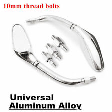 Chrome Shell Motorcycle Side Rearview Mirrors 10mm Universal Pair For KAWASAKI
