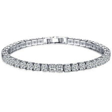 White Gold Plated Diamond Crystal Tennis Bracelet with Elements Bling