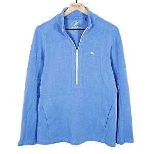 Tommy Bahama Womens 1/2 zip Mock Neck Pullover Sweatshirt Blue Size Large
