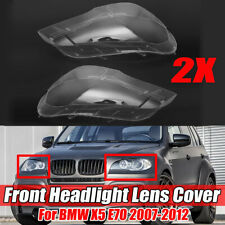 Pair For BMW X5 E70 2007-2012 Headlight Glass Headlamp Lens Cover Replacement