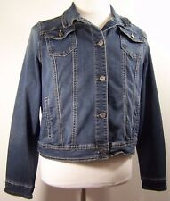 Earl Womens Denim Jeans Jacket Button Front Unlined with Pockets Blue Size XL