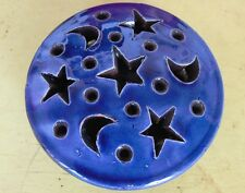 Moroccan handmade ceramic tealight/jewellry box with designs of stars & moons.