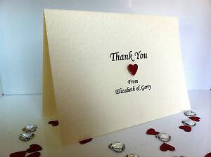 50 x Wedding Thank You Cards (Handmade & Personalised) Emily