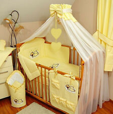 8 pcs BABY BEDDING SET /BUMPER/CANOPY /HOLDER to fit COT BED 140 x 70cm
