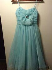 Pearl Georgina Chapman Of Marchesa Teal Tank Dress Tulle Rosette Appliqué Size 4