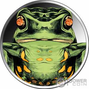 DIAMOND FROG Frosch 1 Oz Silber Münze 5 Cedis Ghana 2020