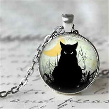 Women Vintage Black Cat Cabochon Silver-Plated Glass Chain Pendant Necklace EOAU