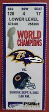 2001 BALTIMORE RAVENS NFL TICKET STUB VS CHICAGO BEARS