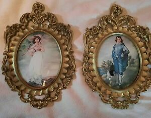 2 Vintage Victorian Lithographs Pinkie and Blue Boy Paintings Convex Glass