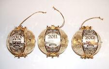 3 NEW Settlers Catan Mayfair Brass Christmas Holiday Ornaments 2010-2012 NIB LOT