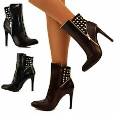 Zip Stiletto Synthetic Leather Ankle Boots for Women