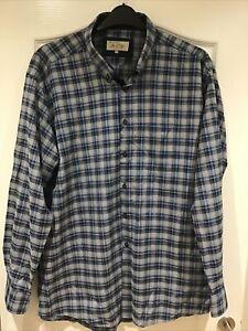 Daniel Grahame Drifter Men's Long Sleeve Blue & Buff Check Shirt XXL