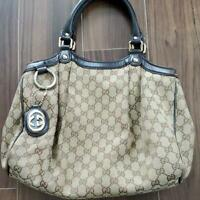 GUCCI Sukey 2Way Hand Tote Shoulder Bag GG Canvas Leather Brown Used