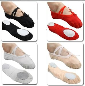 UK Stock Free P&P Canvas Ballet Dance Flat Shoes for Childs Kids Girls Sale