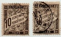 1882/90 FRANCIA CHIFFRES TAXE A PERCEVOIR 2 VALORI USATI