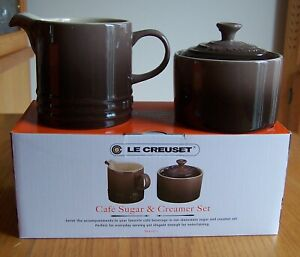 Le Creuset Black Brown Cafe Covered Sugar and Creamer Stoneware Set New in Box