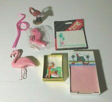 7 Pink Flamingo Items Figurine-Decorati0N-Straw -Earrings-Floating Key Chain