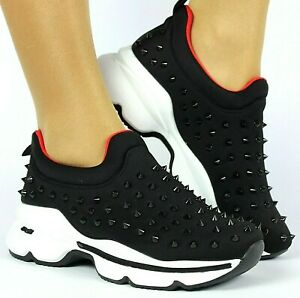 WOMENS BLACK SPIKED CASUAL CHUNKY TRAINERS SNEAKERS WALKING SHOES SIZE UK 3 / 36