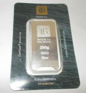 250g Silver Minted Bar - Baird & Co (Sealed Certicard)