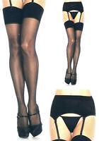 Women Garter Belt + Stockings Sheer 2-piece Set Queen 1X Black Leg Avenue 1925 Q