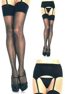 Women Garter Belt + Stockings Sheer 2-piece Set Queen 1X Black Leg Avenue 1925 Q