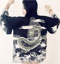 New 8-10 Womens Ladies Chinese Japanese Oriental Kimono Style Black Dragon Top