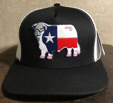 Lazy J Black on White Texas Hereford Patch Snap Back Cap Rodeo Trucker