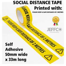 Social Distancing Floor Tape Yellow Hazard 50mm x 33m Safe Distance 2 Metres