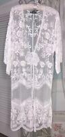 NEW XL L M S White Mesh Lace Crochet Boho Open Duster Topper Kimono