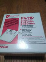 """Universal 3.5"""" Diskettes 10 NEW Box Double Sided High Density IBM formatted"""