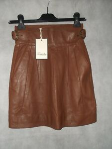 NEW WITH TAGS Temperley London tan leather belted mini skirt size 8
