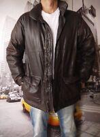 Vintage Eddie Bauer  Goose Down Brown Leather Puffer Bomber Jacket Men's S