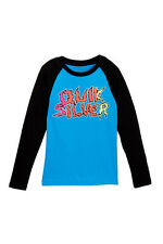 Quiksilver Boys 5 Long Sleeve Blue Black Tee T-Shirt Ghetto Living Raglan NWT